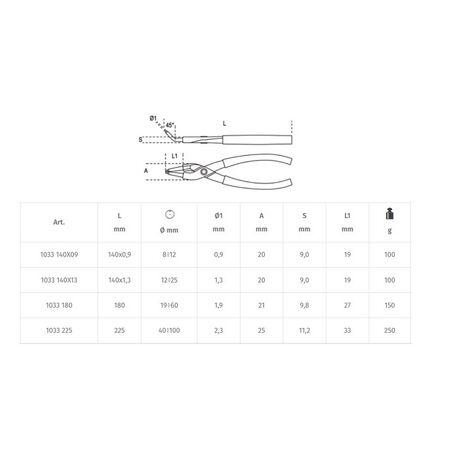 _Alicate para Retenes Interiores de Boca Recta y Acodado a 45° Beta Tools   1033-P   Greenland MX_